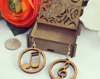 Laser cut wood earrings #9