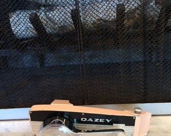 Vintage Can Opener Mid Century Modern Dazey II D Swing Away Can Opener -  Pink & Black Chrome
