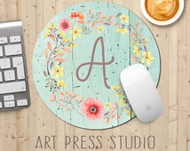 Monogrammed Floral Wreath Mousepad, Poppies on Mint Wood, Initial Monogram Mouse Pad, Shabby Chic Mousepad, Boho Chic Mouse Pad