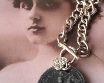 Vintage Horse Assemblage necklace, Horse jewelry, Horse necklace, Horse pendant, Horse medal,  vintage medal, Equsetrian medal, Watch chain,