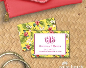 Island Pineapple Calling Cards - Monogram Personal Contact Cards - Personalized Mommy Cards / Business Cards - Email Phone Card Set