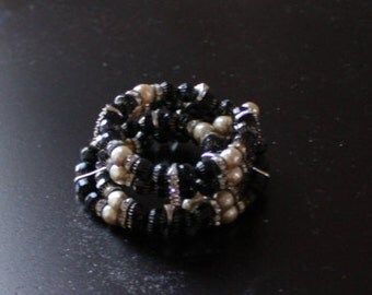Vintage Wrap Bracelet with Black Faceted Beads