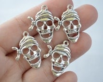 6 Pcs Skull Charms Pirate Charms Antique Silver Tone 27x19mm - YD0797