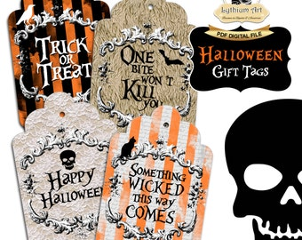 HALLOWEEN Tags, Halloween Gift Tags, Printable Tags, Instant Download, Halloween Decorations, Halloween Printables, Gift Tags,Halloween Gift