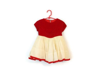 Vintage Joyce Ann Red Cream Dress / Baby Clothes