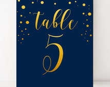 Gold navy table numbers wedding Printable table numbers Navy gold table card Elegant customized table numbers wedding table decor Whimsical