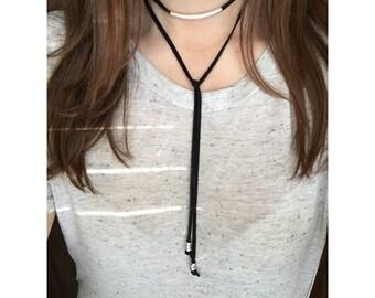 Leather Wrap Choker Necklace /Bolo tie / lariat necklace + Charms / boho / bohemian jewelry