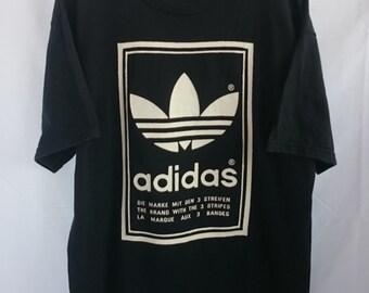 90s//Adidas Trefoil//Three Striped Brand//Big Dual-Sided Logo//Sportwear//Tshirt