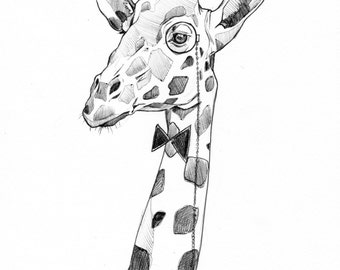 La Girafe Dandy | Print | Artwork | Art Illustration | Drawing | Handmade | Art Deco | Animal | Girafe | Stylo | Made in Quebec