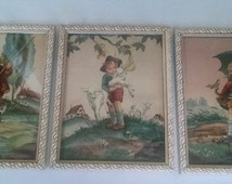 Reliance Industries  Framed Art Chicago - Children Illustrations -Country Farm Nursery Wall Art - Vintage - Set of 3