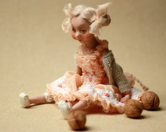 Art doll Rose, OOAK  doll, handmade collectibles art doll, polymer clay doll, home decor doll, decorative doll, interior doll, artist doll