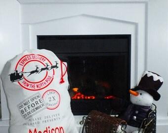Personalized Santa Sack - Christmas Gifts - Christmas tote - Holiday Sacks - Holiday Bags - Santa Sack