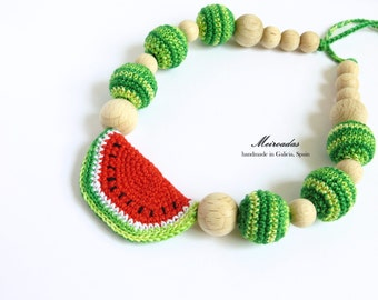 Watermelon crochet necklace, Organic necklace, Nursing necklace, Teething necklace, Mommy necklace, Breastfeeding, Mama jewelry, Natural