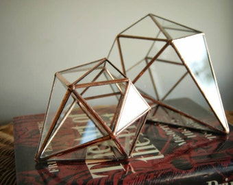 Mini Diamond Geometric Terrarium, Ring Bearer, Glass Ring Pillow, Wedding Box, Jewelry Box, Proposal Box, Geometric Planter, Wedding Decor