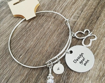 DESIGN YOUR OWN custom bangle charm bracelet  Pick your charms / personalized / create your own / customized jewelry / corporate client gift