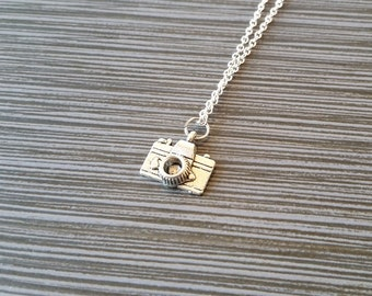 Silver Camera Necklace - Camera Charm Necklace - Personalized Necklace - Custom Gift - Initial Necklace - Photographer Gift - Geeky Gift