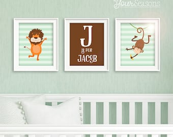Jungle Nursery Decor - Personalized Name and Monogram - Printable 8x10 DIGITAL FILES