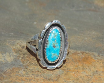 Julia Martinez ~ Navajo Sterling Silver and Turquoise Ring - Size 6.25