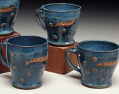 Blue Starry Pottery Mugs with Inspirational Words