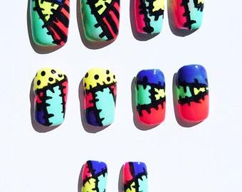 Edgy colourful kawaii false faux nails nbx/frankenstein inspired