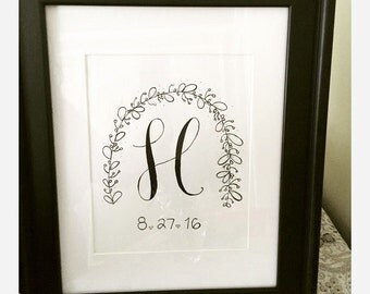 Personalized Hand-Lettered Initial with Date, Whimsical Arch-Embellishments