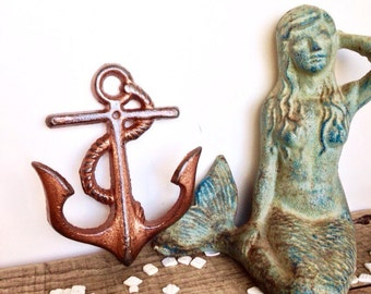 copper anchor hooks beach decor nautical home decor copper bathroom bathroom wall - Copper Home Decor