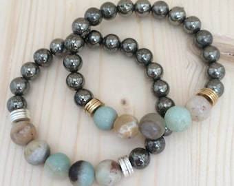 Amazonite & Pyrite Beaded Bracelet