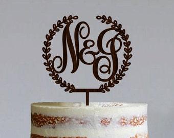 Wooden Monogram Cake Topper Custom Initial Cake Topper Wooden Letters Couple Monogram Cake Topper Gold Cake topper Silver Cake toppers