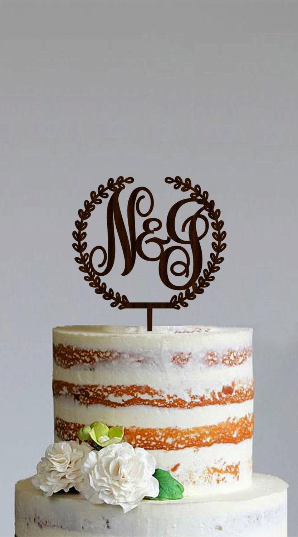 Wooden Monogram Cake Topper Custom Initial Cake Topper Wooden
