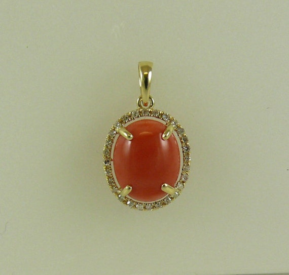 Coral 9 x 11mm Pendant 14k Yellow Gold with Diamonds 0.14ct
