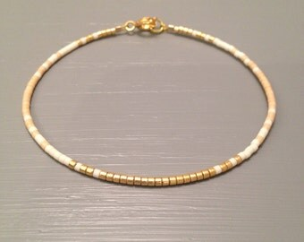 Seed Bead Bracelet Gold Beaded Bracelet Gift for Bridesmaid Blush Pink Bracelet Blush Wedding