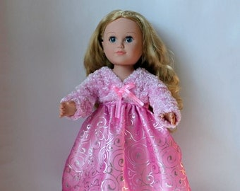 Pink and silver party dress with pink fur jacket for American Girl doll / 18 inch doll