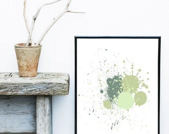 Green Abstract Print, Watercolor Art, Minimalist Art, Abstract Art Print,   Giclee print, Wall Art, Home Decor, Wall Decor