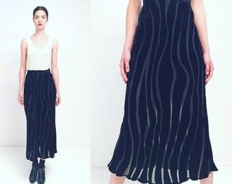 Vtg Silk Velvet Sheer Black Skirt