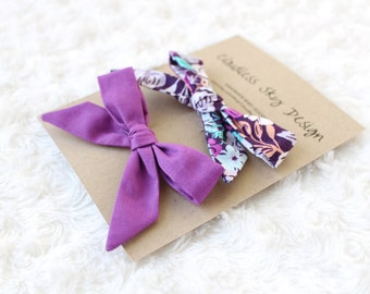girls hair bow, fabric hair bow, hair bow for girls, toddler hair bow, bow clips, purple bow, floral hair bow, hair accessory, hair bows