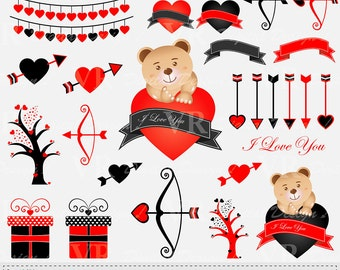 Valentine Clip Art, Valentines Day Teddy Bear Clipart, Love Vector Clip Art, Digital Download