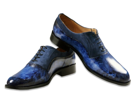Leather men shoes, navy blue, suede, Oxford, hand painted, made in Italy, personalized