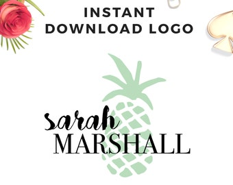Instant download Pineapple Mint Logo - DIY Premade Logo Design - Mint - AI, EPS, Psd - Logo Template  - Modern Logo Template - Watermark