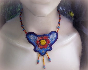 Azure lace boho, hippie necklace