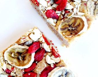 Banana Goji Squares Organic Raw Vegan Low Carb Low Calorie