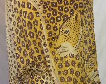 LEOPARD silk scarf in yellow and brown (animal print)