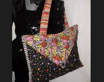Unique Quilted Handmade Multi Color Stripe/Rose/Floral Tote/Shoulder/Purse/Hand Bag