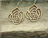 3d printed wooden rose earrings