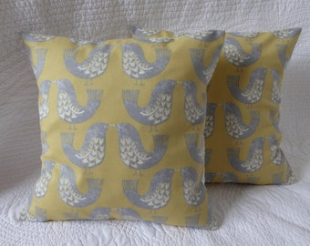"Yellow Cushion Pillow Cover 16"" 40cm Cotton Scandi Bird Print in Saffron Yellow Mustard Grey Handmade to Order"