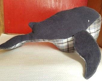 Gray Corduroy + Plaid - Large Whale