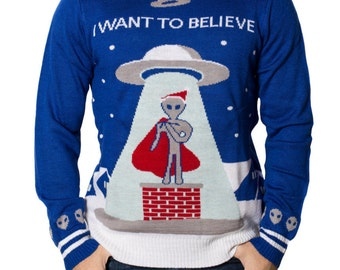 I Want to Believe UFO Ugly Christmas Sweater