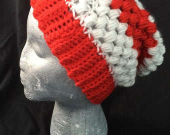 Red and White Stripe Slouchy Beanie, wheres waldo hat, candy cane beanie