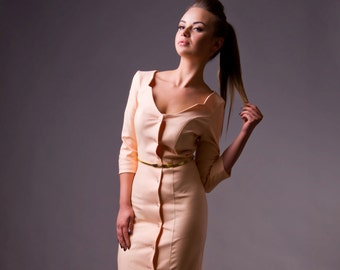 Enjoy 60% OFF, Last Sizes, Elegant Long Sleeve Pencil Dress by TAVROVSKA, Midi Fitted Cotton Dress with Buttons, Sale