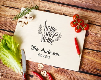Home Sweet Home Personalized Cutting Board Home Décor Chopping Block   Laser Engraving Personalized Housewarming Gift Kitchen Hostess Gift