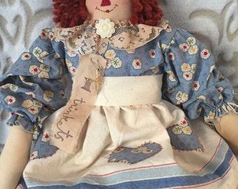 Primitive Folk Art Heart Rag doll, handmade art doll, raggedy doll, folk art doll, home decor, handmade raggedy doll, Primitive decor